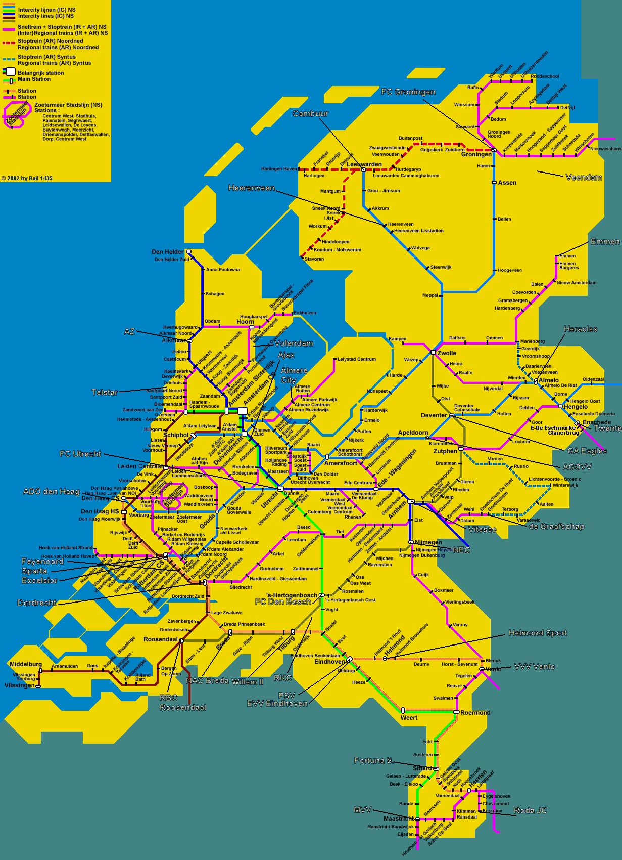 Holland train map Train map of Holland Western Europe Europe