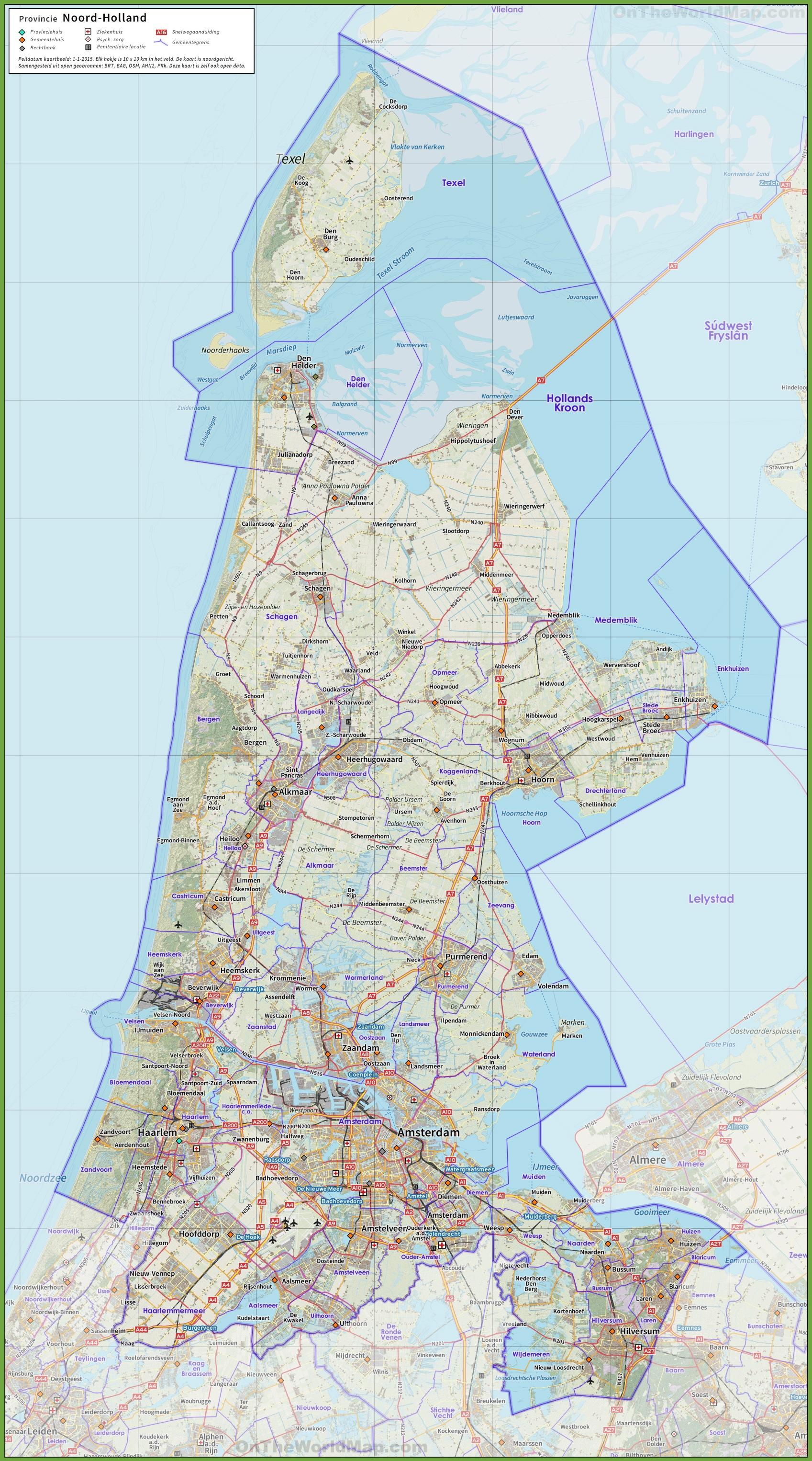 Map north Holland Map of northern Holland