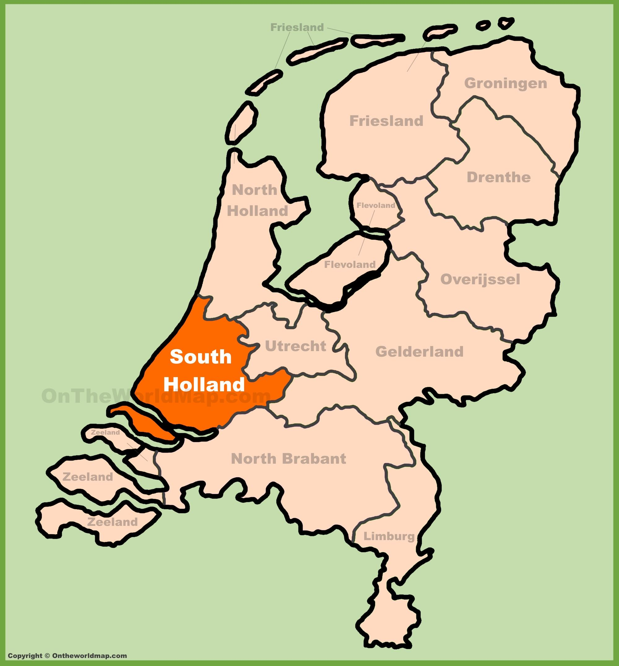Map of southern Holland - Map of south Holland Netherlands (Western ...