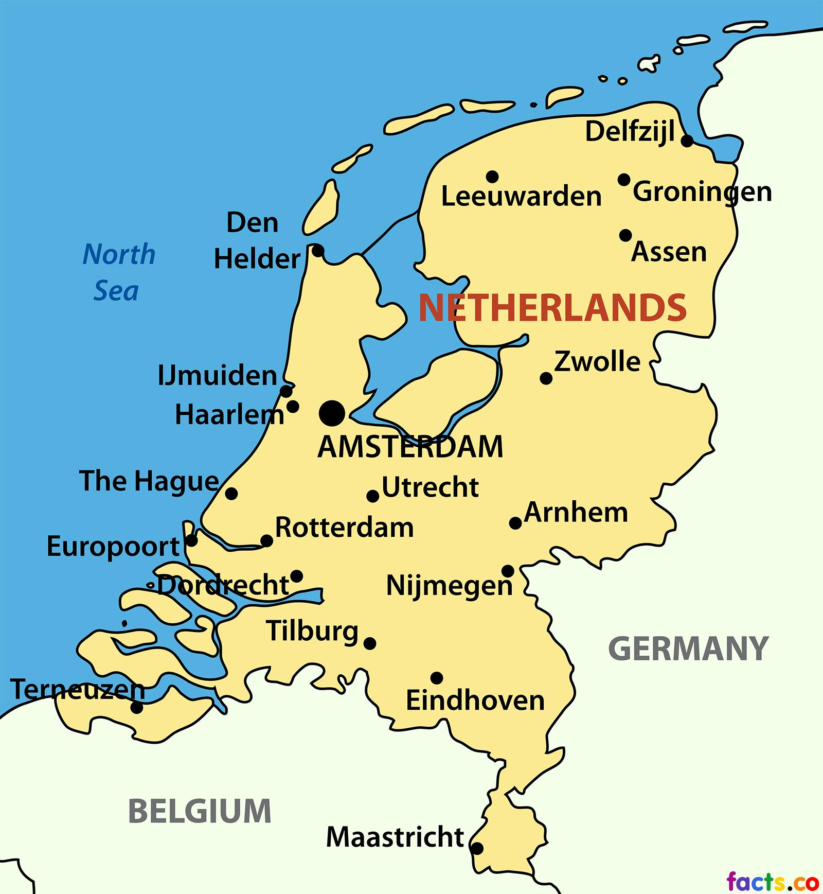 Netherlands city map - Map of Netherlands cities (Western ...