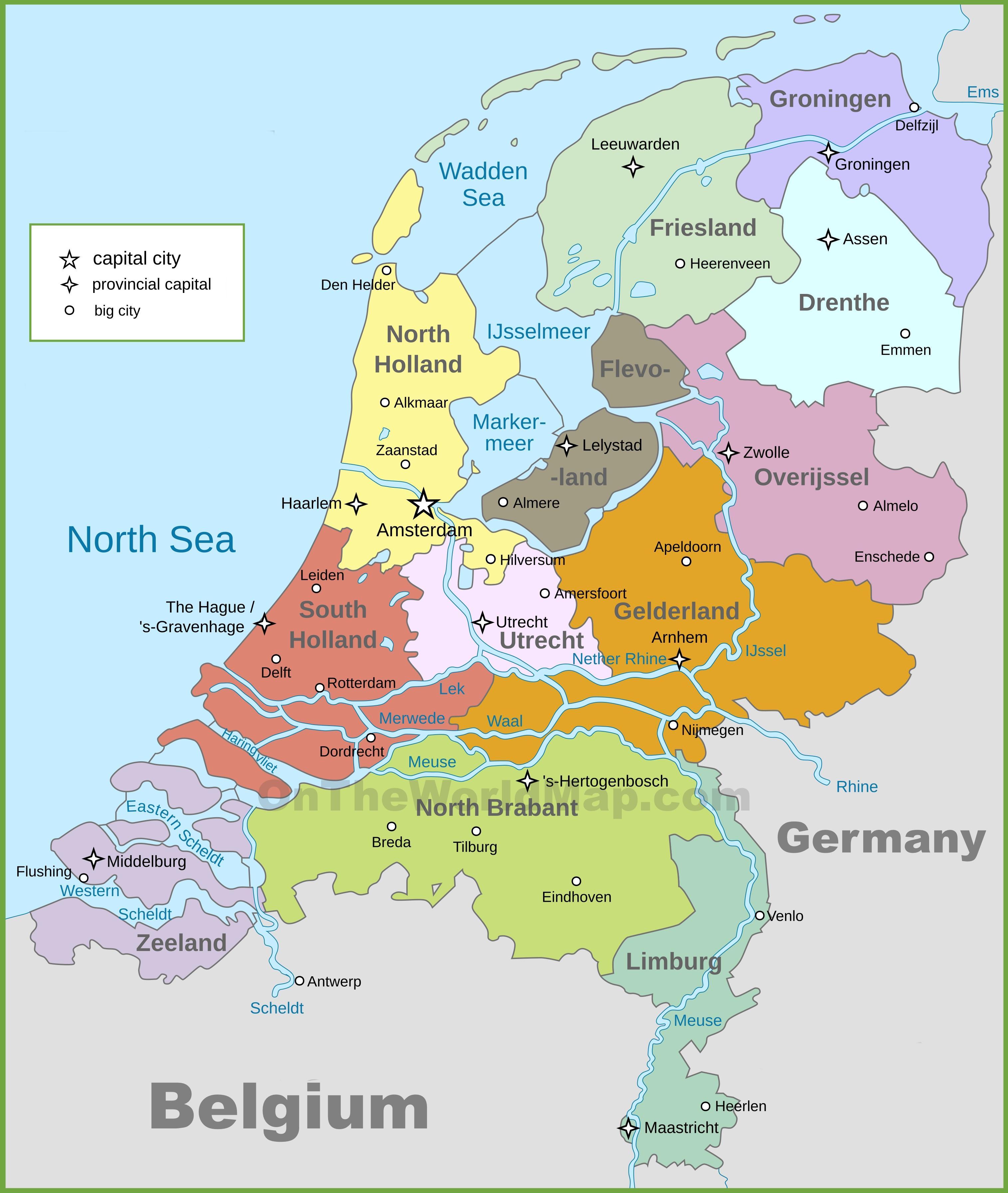 Netherlands political map - Political map of Netherlands (Western ...