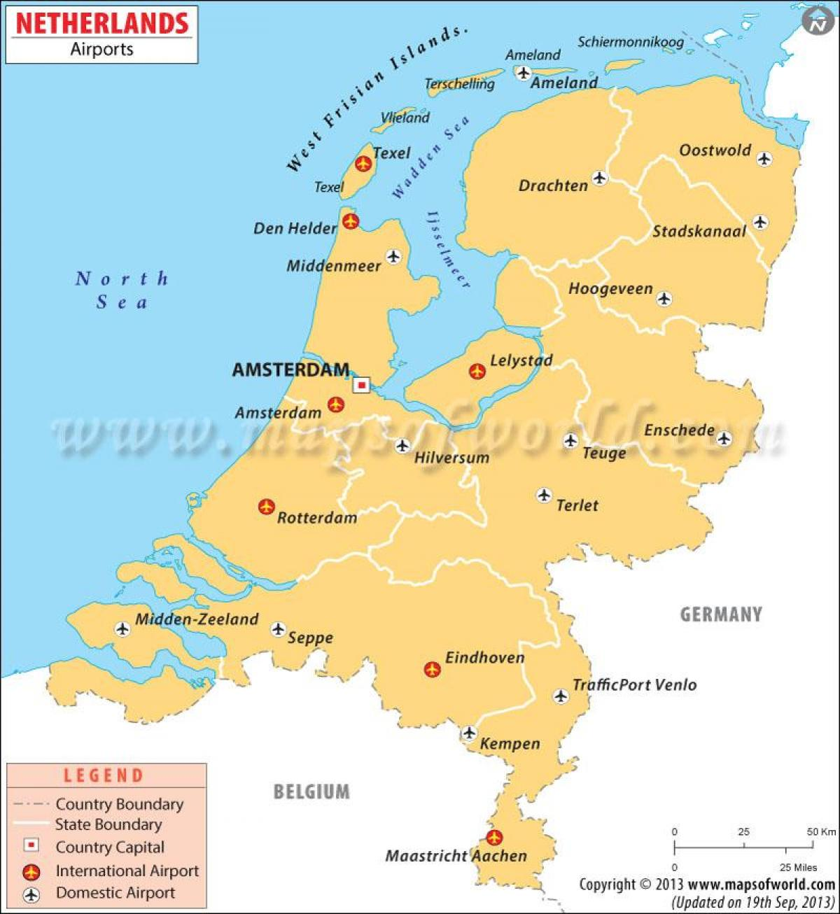 Airports Netherlands map - Airports in Netherlands map (Western ...
