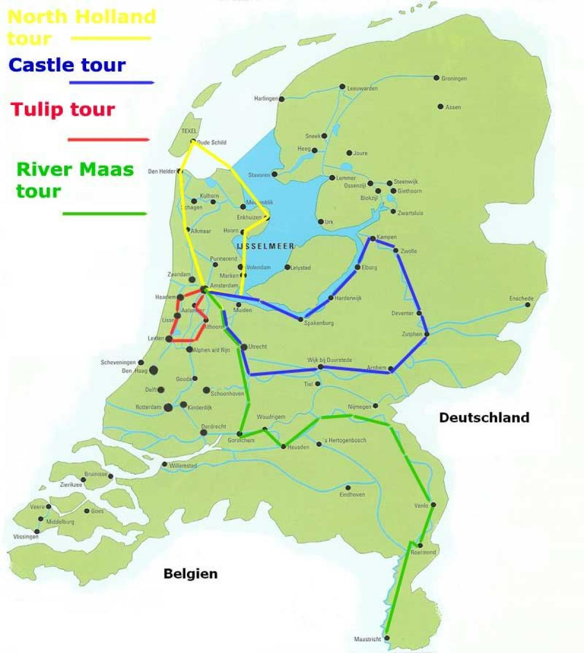 Holland cycling map - Map of cycle routes in Holland ...