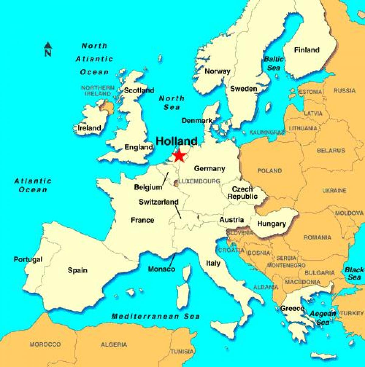 Holland map europe - Map of Holland europe (Western Europe ...