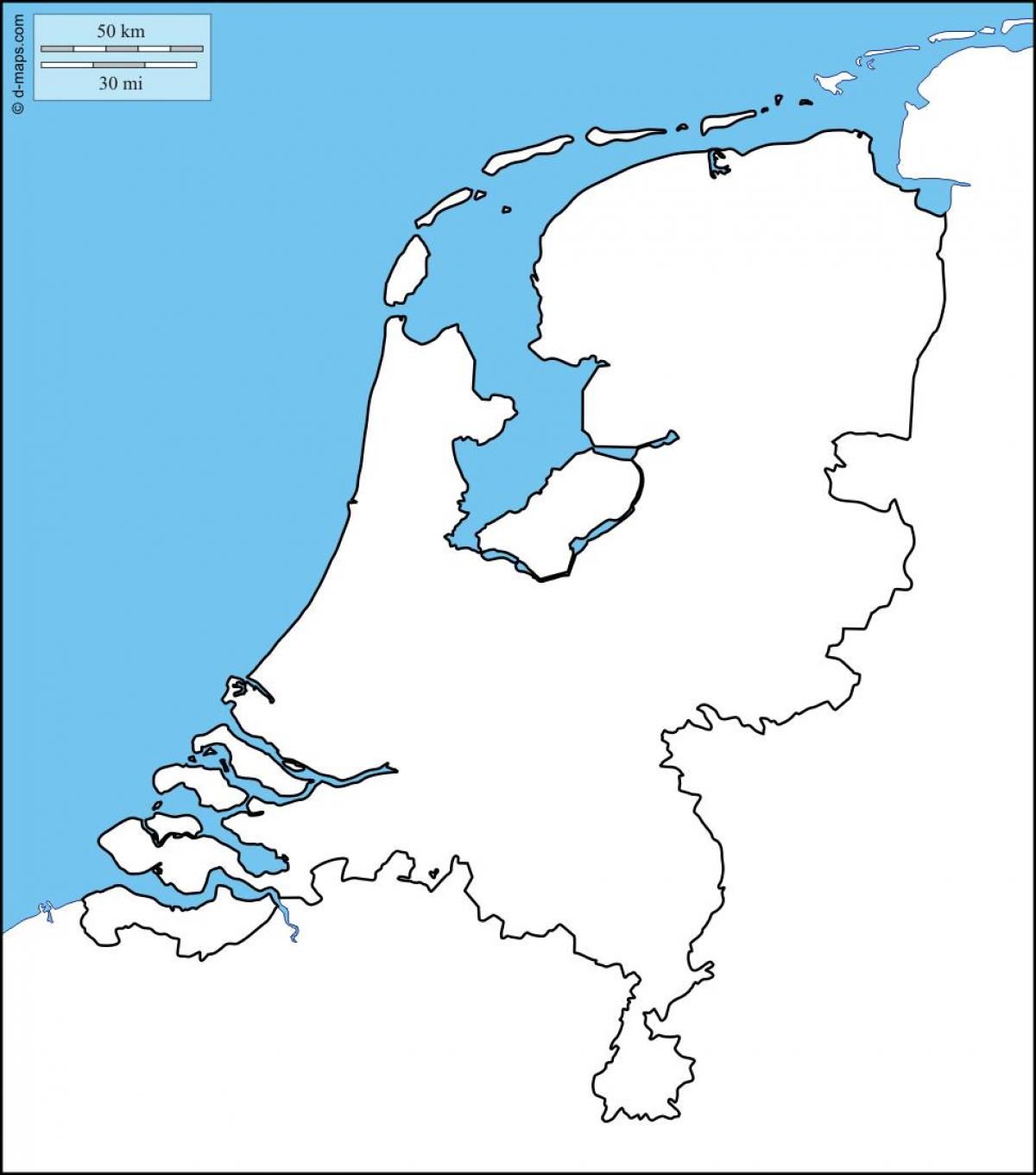 Holland map outline - Holland blank map (Western Europe ...