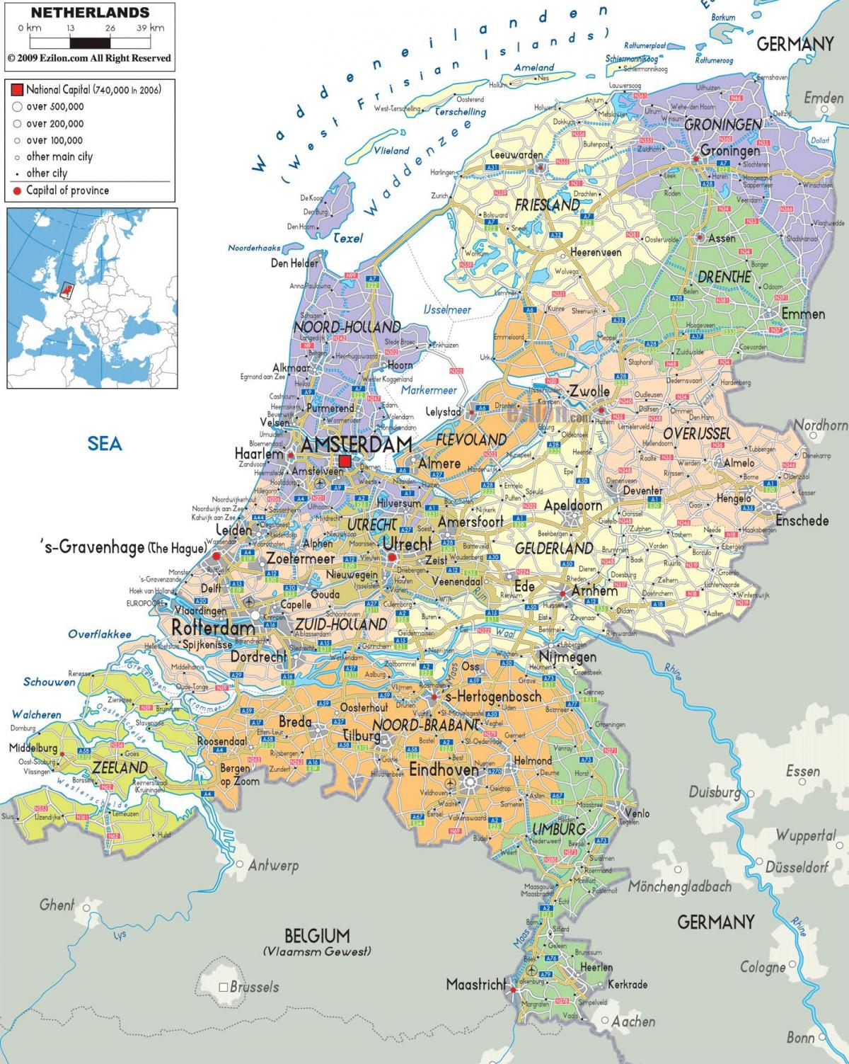 map of Holland with cities