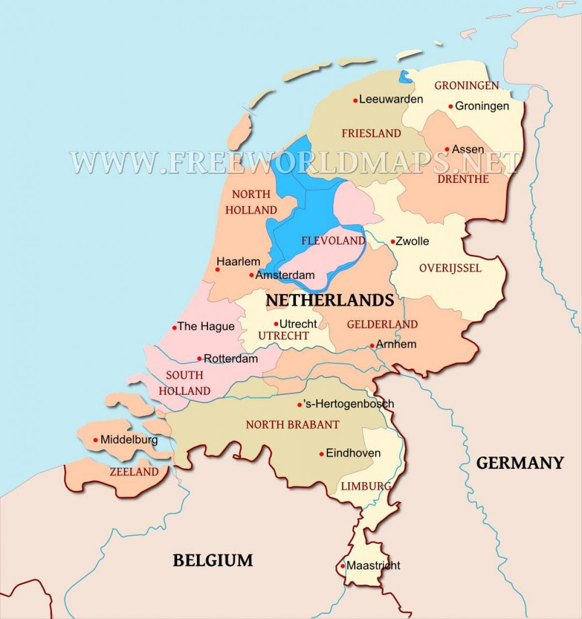 Netherland map Netherlands on the map Western Europe Europe