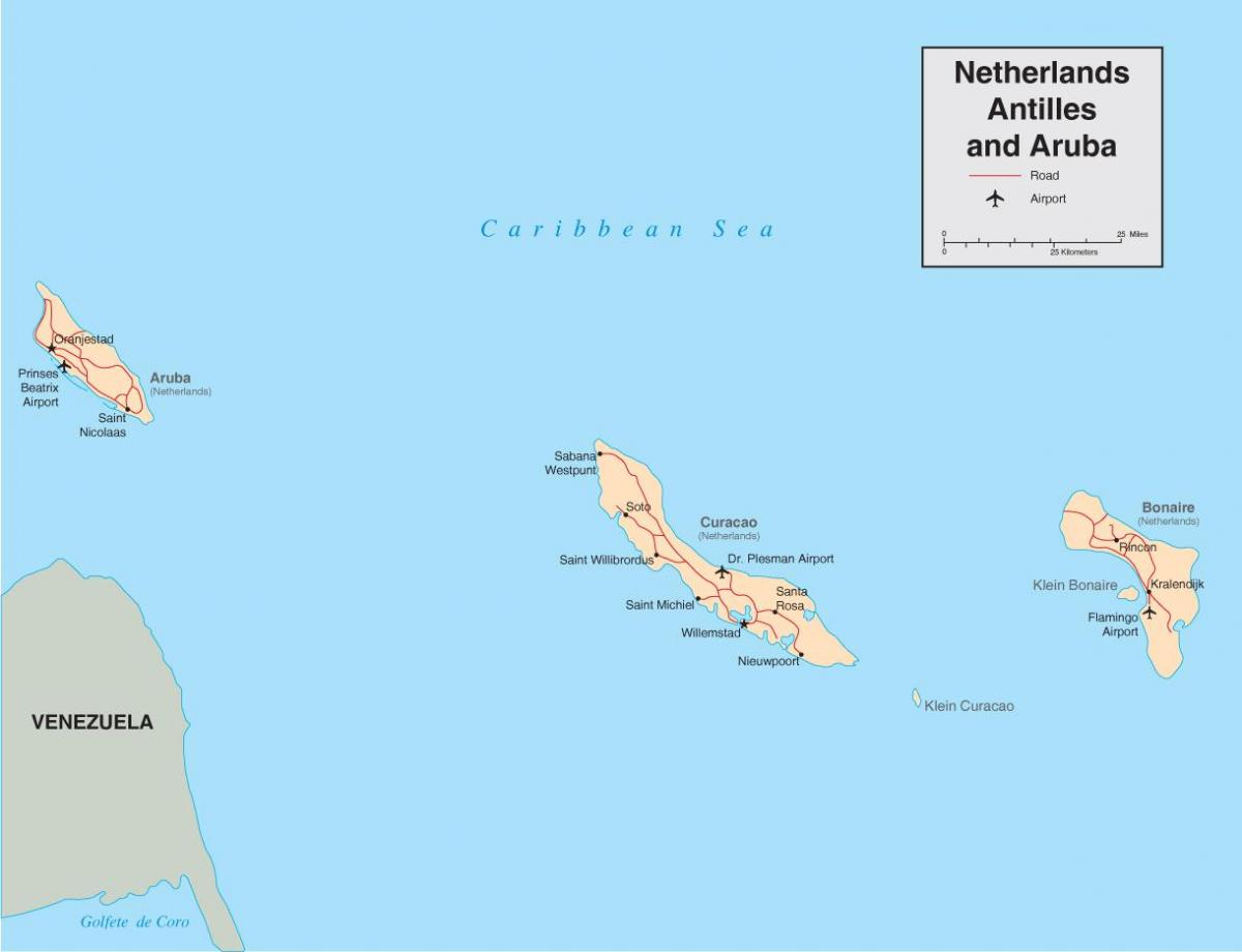 map of Netherlands Antilles