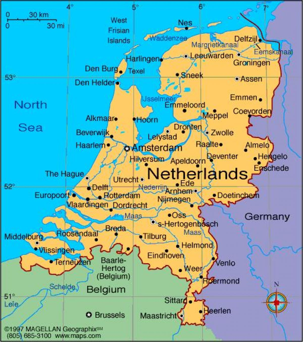 map of Netherlands with cities
