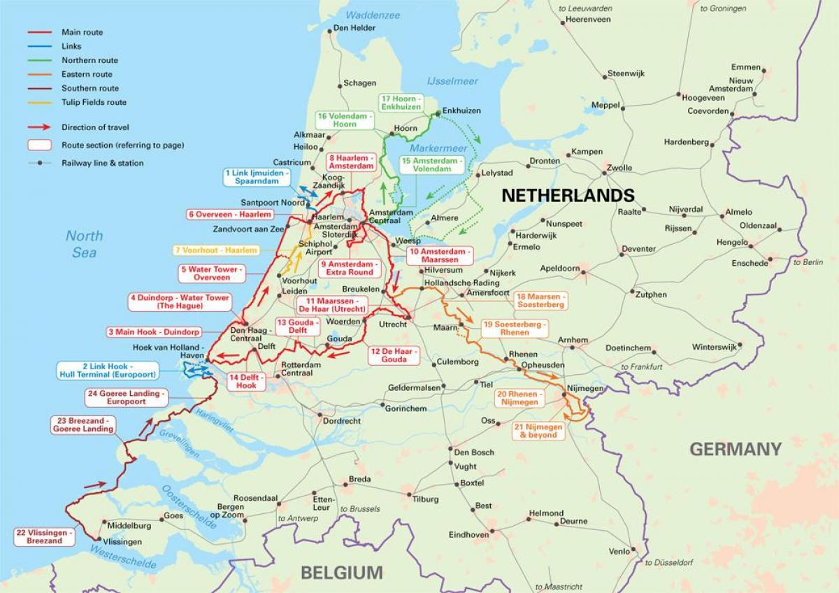 Netherlands cycling map - Netherlands cycle routes map (Western ...
