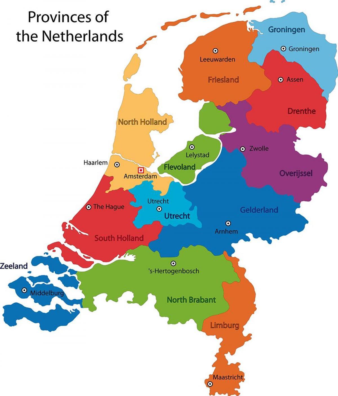 Netherlands provinces map Map of Netherlands provinces Western
