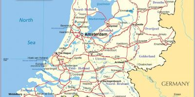 Map of Holland and surrounding countries