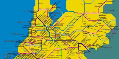 Train map of Holland